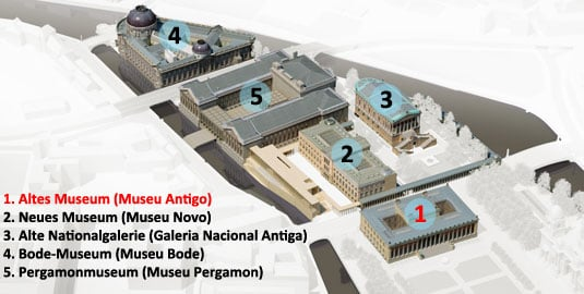 Altes Museum (Museu Antigo) na Ilha dos Museus em Berlim