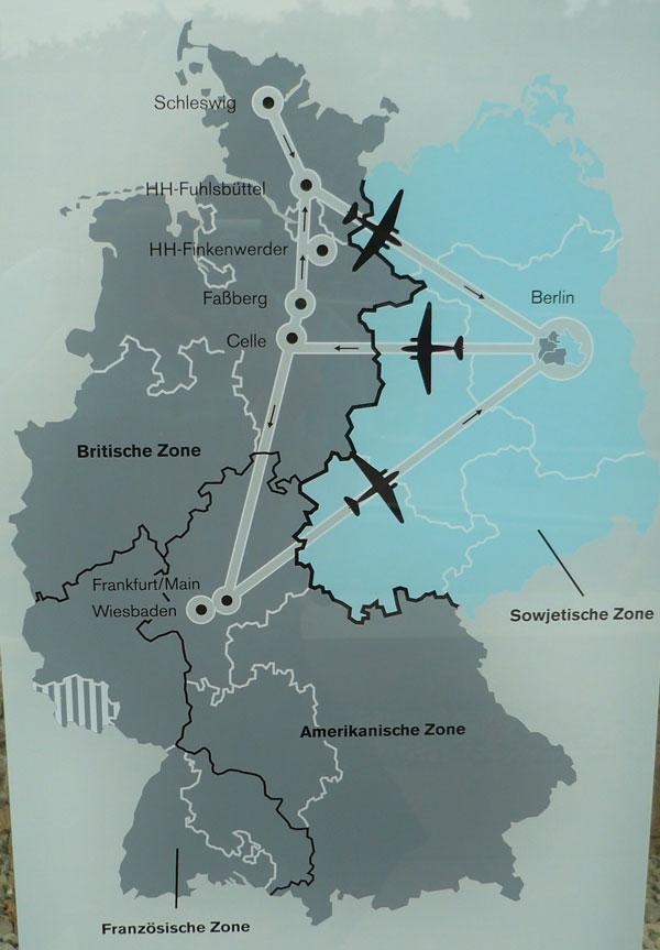 Esquema da ponte aérea no bloqueio a Berlim Ocidental