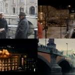 Liam Neeson e Diane Kruger com a ponte Monbijoubrücke e o Bode_Museum ao fundo; Pariser Platz/Portão de Brandenburgo; hotel Adlon; ponte Oberbaumbrücke