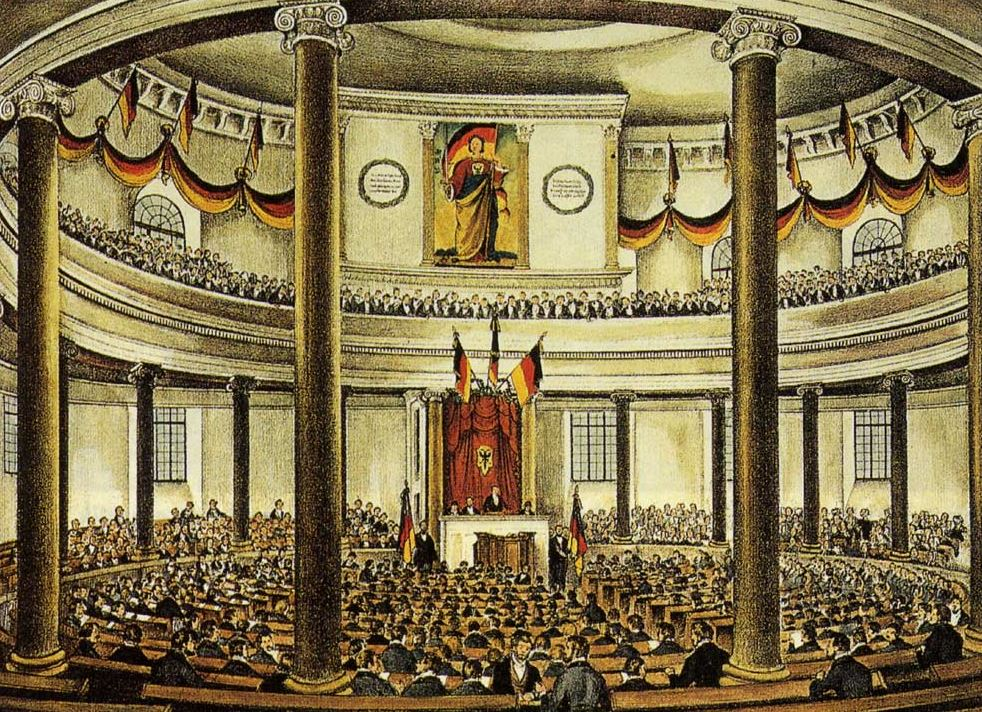 Pintura mostrando o parlamento em Frankfurt (Fonte: de.wikipedia.org/wiki/Deutsche_Revolution_1848)